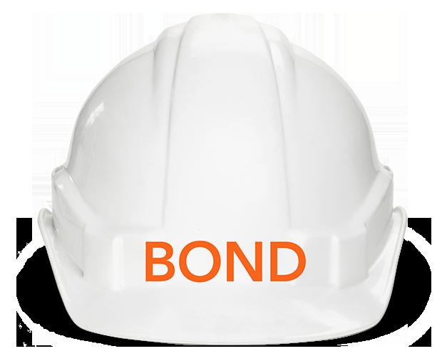 BOND labeled hard hat